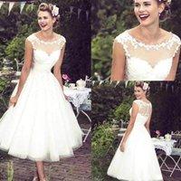 2022 Vintage Lace Short A Line Wedding Dresses O Neck Sheer Tulle Applique Tea Length Wedding Dresses Bridal Gowns Robe de mariee BC2991