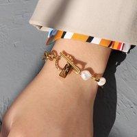 Ссылка, цепь европейской и американской от пряжки геометрические дамы простые натуральные пресноводные жемчужины подвесной браслет