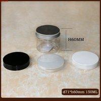 50pc / lot 150 ml 180 ml 200ml Klarer Kunststoff Kosmetisches Pet Jar Transparent Weiß Schwarzer Deckel Aluminiumkappe Reise Bottlgood Menge