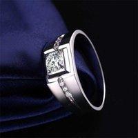 Avere il solitario del certificato maschio maschio 925 sterling argento 1.0ct Lab Diamond Engagement Jewelry anelli di nozze per uomo anello dito 0126
