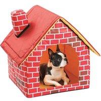 منزل من الطوب المحمول المحمولة مع المدخنة الدافئة والذي دافئ الكلب القط السرير قابل للفصل خيمة الحيوانات الأليفة قابل للغسل مناسبة لجميع مواسم وسادة