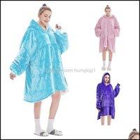 Blankets Textiles Home & Gardenlazy Sweatshirt Winter Hoodies Fleece Giant Tv Blanket With Sleeves Pullover Oversize Women Hoody Sweatshirts