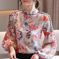 Длинные рукава Женщины Блузки Рубашки Мода Женская Одежда Печать Шифон Блуза Рубашка Топы Весна Весна и Осень