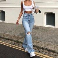 Agujeros Ripped Flare Jeans Mujer Azul Pinza Alta Cintura Denim Pantalones Denim Capris Bolsillo de Moda Pantalones Streetwear