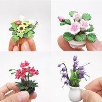 미니 인형 집 미니어처 녹색 식물 꽃 냄비에 요정 정원 액세서리 장난감 어린이 생일 파티 선물 크리스마스 선물