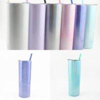 US Stock 20oz Glittering Rainbow Paint Tumblers Sublimation 600ml Stainless Steel Cup Water Coffee Mug Straws Lids Fruit Juice WHT0228