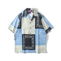 2021 جديد Kiryaquy الرجال التعادل صبغ الأزرق بيزلي ويست كوست كريبس الدماء الأزياء القطن عارضة القمصان قميص جودة عالية جيب d25 z79a