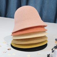 Japon Rahat Güneş Kremi Havzası Şapka Çok Yönlü Kova Katı Renk Şapka Kadın Yaz Nefes Güneşlik Balıkçı Şapka