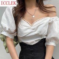 Women's Blouses & Shirts Korean Chic Watch Out For Machine Leakage Clavicle Lace Bubble Sleeve Shirt Summer Design Sense V-neck Temperament