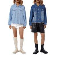 Kadın Ceketler Kayotualar Kadın Ceket Denim Mavi Tek Göğüslü İlkbahar Sonbahar Yaka ile Cep Uzun Kollu Chic Bayanlar Streetwear