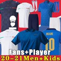 Italie Jersey de football 2021 2022 Italia Barella Sensi Insigne 20 21 22 Européenne Euro Coupe Chiellini Bernardeschi Chemises de football Hommes + Enfants Kit Uniformes Away