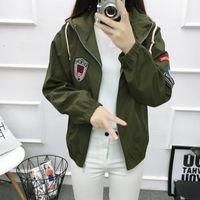 Women's Trench Coats Women Causal Short Jacket 2021 Spring Autumn Zipper Long Sleeved Army Green Coat Streetwear Hooded Jackets