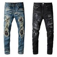 2021 Модная промышленность Trend Trend Casual Mens Jeans разорвал проблемный хип-хоп Slim прямые ноги джинсовые штаны Трашер Wrangler ретро мотоцикл джин