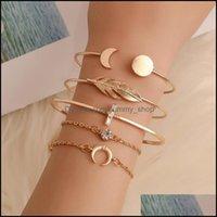 Bracelets Jewelryopen Moon Round Leaves Bracelet With Diamond 5 Piece Set Charm Bangle Women Fashion Jewelry Drop Delivery 2021 9Gno2