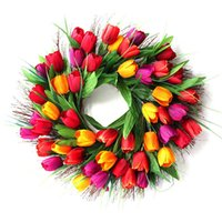 Fleurs décoratives Couronnes 40cm Floral artificielle Tulipe Couronne Porte suspendu Mur Fenêtre Décoration Festival de vacances Mariage Home Ornement