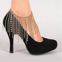 Anklets Crystal Tassel Bohemian Anklet Chain For Women Girl Trendy High-heeled Shoes Handmade Foot Jewelry Barefoot Sandals Accessory