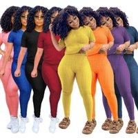 2021 Women's Set Tshirt+pants Short Sleeve Summer Two Piece Set Fashion Slim Sport Ladies Suits Yoga Home Clothes