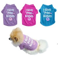 4 size Dog Apparel products pet clothes spring and summer pet vest T-shirt I give free kisses FWF8921