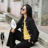 Ethnic Clothing Women Retro Chinese Style Blouse Casual Qipao Tops Loose Vintage Shirts Tai Chi Uniform Tang Suit Hanfu T-Shirt Coat