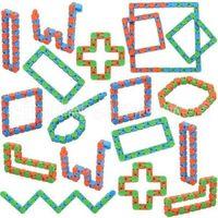 최신 엉뚱한 트랙 스냅 및 클릭 Fidget Toys Snake Puzzles 어린이를위한 장난감을 얽히게하는 성인 파티 ADHD 자폐증 스트레스 구호가 손가락을 유지합니다.
