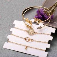 المجوهرات اليدوية بالجملة بسيطة مزاجه الماس رصع السهم ورقة سوار دائرة نمط خمسة قطعة مجموعة سوار