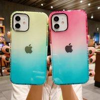 Fashion Transparent Gradient Color Cover Mobile Phone Cases for iPhone 13 Pro Max 12 11 Dirt-resistant Water Resistant Clear Soft TPU Shockproof Case
