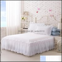 Bedding Supplies Textiles Home & Gardenbedding Sets 100%Cotton Solid Color Lace Luxury King Size Queen Bed For Girl Sheet Set Pillow Case Wh