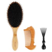 Hair Brushes Frcolor Boar Brush Set Natural Wooden Bamboo Handle Anti-static Comb For Styling Straightening Detangling