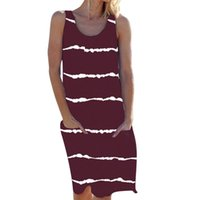 Dress Big Size Summer Casual Short Sleeve Stripe Printed Dress Women Loose Pockets Maxi Long Dress Lady S-2XL