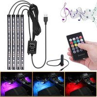 Car Interior RGB LED Strip Light Foot Ambient Lamp With USB Cigarette Lighter Music Decorative Atmosphere Light Led Light Bar12V
