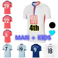 20 21 CFC T.SILVA كرة القدم الفانيلة إبراهيم فيرنر Havertz Chilwell Ziyech Lampard Football Commirts Pulisic Camiseta 2020 2021 4th Men Kids Kit