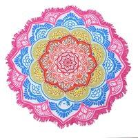 Alfombras Poligonal Impreso Tassel Mat Redondo Playa Toalla Yoga Lotus Lotus Sunscreen Suelo Suelo Sentado Manta Alfombras Para Dormitorio