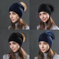 Beanie Skull Caps Winter Knitted Beanie Hat Raccoon Fur Pom Rhinestone Beaded Trim Women's And Girls Thick Double Layer Warm Cap