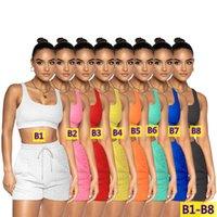 Workout Jogger Suits Yoga Tracksuits Summer Outfits Women Clothing 2 piece set Plus size 2XL Solid Color tank top shorts Sportswear Crop Strap capris sweatsuits 305