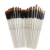 12 pz / set artista nylon Capelli in legno manico in legno acquerello penna pennello penna per l'apprendimento dell'olio fai da te Pittura acrilica Acrilico Pennelli Art Forniture