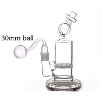 Glass Bong Water Pipe Hookahs Honeycomb Perc Recycler heady Dab Oil Rigs Wax Ash Catcher Hookahs with 18mm male glass oil burner pipes