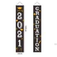 Graduation Party Dekorationen - 2021 Abschluss Banner - Klasse von 2021 Glückwunsch Grad - Hängende Flaggen Veranda Schild Freilandhaus doordhd5166
