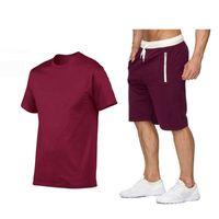 Men's Tracksuits 2021 Tracksuit Men Sets Summer 2 Pieces Sportswear Set + Gym Fitness Sport Shorts Mens Casual T Shirts Sweat Suit 2XL