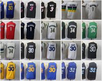 2021 NCAA Basketball Rottro Jerseys Youth Stephen 30 Curry Jersey Allen 3 Iverson Blue Blue Blanc Blanc cousu