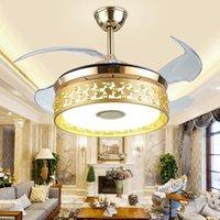 Renkli Bluetooth Müzik Tavan Fanı Işıkları Yemek Odası / Oturma Odası Görünmez Fan Lambası Avize Sesli Ev Yatak Odası