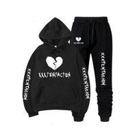 Mens Designer t shirts 2021 Autumn winter Xxxtentacion Revenge Kill Hip Hop Hoodies Sweatshirts and Sweatpants Men Two Piece Set Hooded Suit Velvet