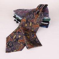 العلاقات الرقبة الفاخرة الرجال أسكوت التعادل بيزلي الأزهار الجاكار المنسوجة الحرير الذاتي الرفاط ربطة العنق قميص شعار مخصص