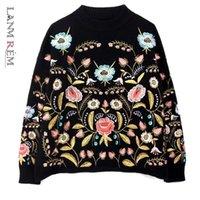 Lanmrem 2021 Rundkragen Blumen Stickerei Top Lose Koreaner Herbst Langarm Frau Neue Mode Pullover FA50001 210218