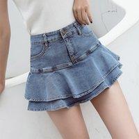 Güvenlik Kısa Denim Miniskirts Kadınlar Artı Boyutu Yüksek Bel Fırfır Fishtail Jean Etek Yaz Seksi Pileli Etek Kız Elastik Bel