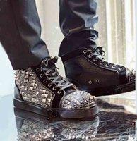 Marke Nietenschuhe Spiked Traine Veau Velours High Top Sneakers Red Bottom Schuhe Männer Spiked + Verschiedene Strass Strass Rhinestones Neue Art