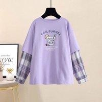 QWEEK Kore Tarzı Kadın Tişörtleri Moda Mor Baskı T Gömlek Kadınlar Uzun Kollu Boy Gevşek Casual Kadın Giyim 210310