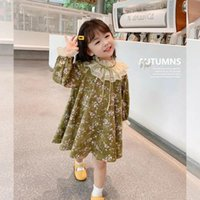 Girl's Dresses 2-9 Year Kids Long Sleeve Floral Dress For Girls Loose Casual Lace Collar Princess Toddler Clothes Children's Clothing