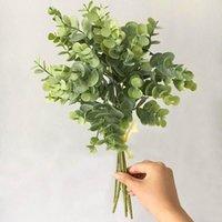6 PCS Eucalyptus Plástico Hojas artificiales Manojo para el hogar Navidad Decoración de la boda Pequeño follaje Folleto Falso Falso Planta de hoja