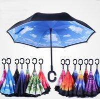 50 adet Katlanır Ters Şemsiye 52 Stilleri Çift Katmanlı Ters Uzun Rüzgar Geçirmez Yağmur Araba C-Kanca Kolu Şemsiye