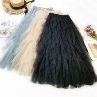 الأزياء توتو تول تنورة المرأة طويلة ماكسي تنورة الربيع الصيف الكورية الأسود الوردي عالية الخصر مطوي تنورة الإناث 210202